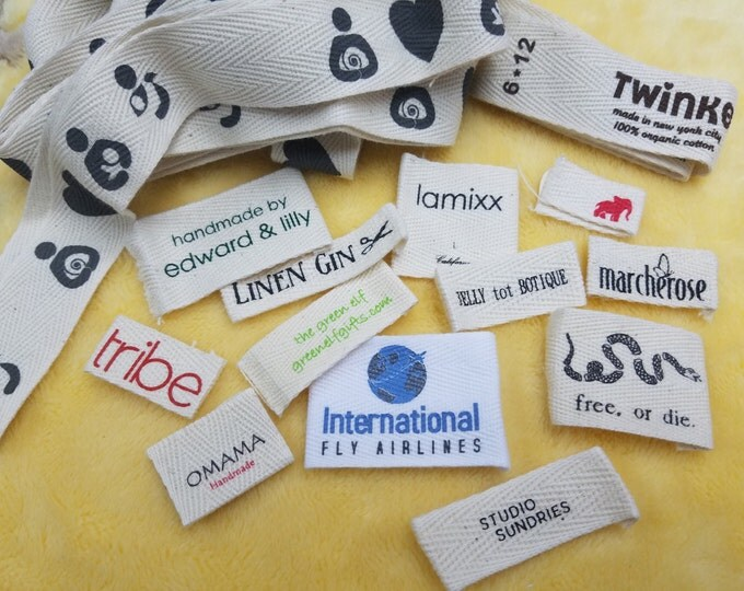 Featured listing image: 1,000pcs Custom Cotton herringbone Printed Labels (Screen Print)  for Care Instruction,Warning,Content, Tops, Tee, Fashion, Vintage