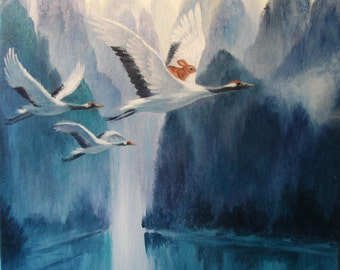 Isabella and the Cranes ,Watercolor Paper Print, Giclee, Isabella