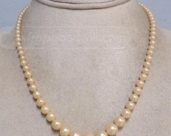 "Vintage Jewelry - Czech Glass Graduated Pearl Necklace - 16"" Long"