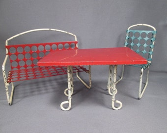 Vintage Doll Furniture - Metal Patio Set - Settee Chair and Table - Larger Scale