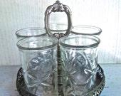 Vintage Star Burst Juice Glass Set Silver Plate Carousel Serving Tray Vintage Farmhouse Vintage Kitchen Home and Living Decor