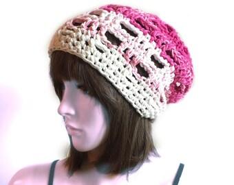 GRID Slouchy Beanie in Pretty Pinks  - eco friendly cotton yarns - summer spring all season - indie boho - women girl teen