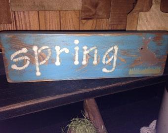 Primitive Spring Wood Sign