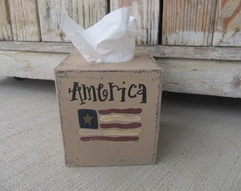 Primitive Americana Patriotic American Flag Hand Painted Tissue Cover Cover with Stars GCC06294