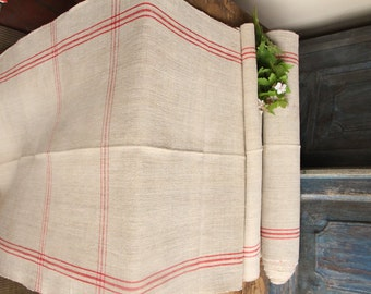 R 149 antique hemp linen roll BRICK RED grainsack fabric 9.07yards wedding decor lin 23.23wide