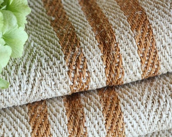 R 387 antique hemp french CARAMELL lin upholstery 4.91yards handloomed STAIRUNNER benchcushion Beachhouse look
