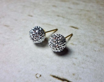 Mini Silver Shining Ball Stud Earrings, Glitter Ball Earrings, Glitter Earrings