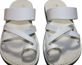 Clearance Sale - White Bath Leather Sandals For Men & Women - Euro # 42 - Handmade Unisex Sandals, Genuine Leather Sandals, Sale