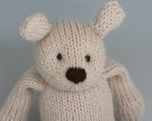 "Almond Bear - Alpaca and Wool - Hand Knit Stuffed Animal - Classic Toy Teddy, 10"" tall"