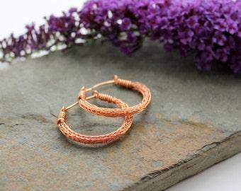 Viking knit Hoop earrings - Copper wire hoop earrings