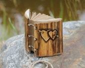 Rustic wood journal small wedding guest book with two hearts and arrow