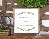 Handpainted Sign, EASTER Because He Lives, Handpainted, 12x12, Wall Sign, Cottage Decor, Modern Farmhouse, Spring Sign, Laurels & Wreaths