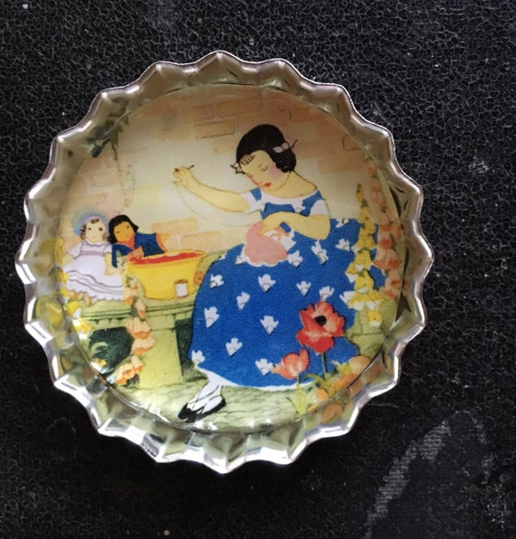 Girl in Blue Dress Magnet & Needleminder. Tin Magnet. Large Bottlecap Magnet.