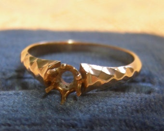 14K Rose Gold Solitaire  Ring Setting - Size 6 1/4  - REDuCED