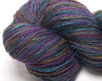 Hand dyed yarn, Merino,  slub Tussah Silk,  heavy laceweight yarn, 100g, colour Lola
