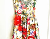 Garden flowers art dress embellished with flowers all over and vintage sequins special occasion small garden party, tea party, birthday