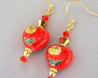 Orange heart earrings, orange love glass heart earrings, orange and gold lampwork, bright orange lampwork heart, gift for her, gift under 25