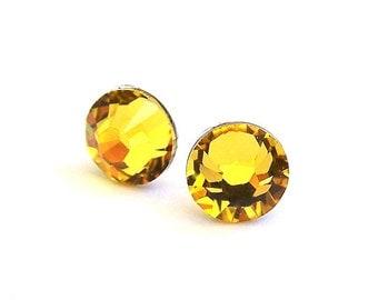 Light Topaz Swarovski crystal post earrings, yellow crystal stud earrings, 7mm yellow topaz studs