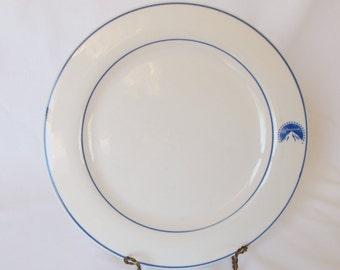 Paramount Pictures Plate Vintage Restaurant Ware Logo China Blue Stripe Cafe Diner Hotel Dinnerware Dishes Movie Studio Souvenir Actor Gift