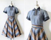 vintage 50s dress, 1950s chevron dress, medium chambray shirt dress with rhinestone buttons