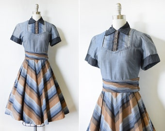 vintage 50s dress, 1950s chevron dress, rockabilly dress with rhinestone buttons