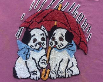 Vintage Stitched Embroidery 2 Puppy Dogs Under an Umbrella Fabric Piece 40's 50's Boxer Wall Hanging, Tote Bag, Pillow Case, Craft, Project