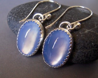 Blue Agate Earrings, Blue Gemstone Dangle Earrings, Sterling Silver Drop Earrings, Smooth Cabochon
