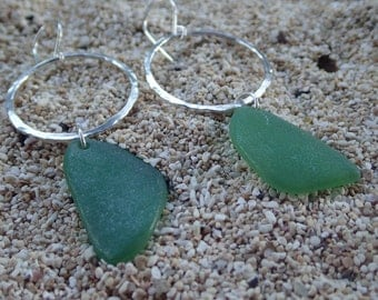 Sea glass on hoops