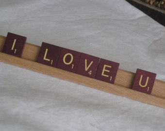 I LOVE U sign with burgundy scrabble tiles, show your love with this cute unique sign