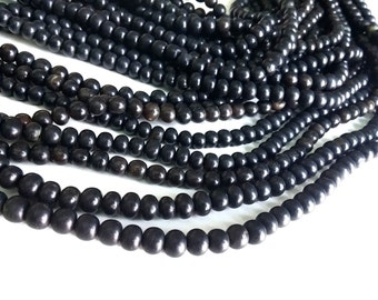 Natural black horn beads 7mm - eco friendly and natural horn beads (PN403C)