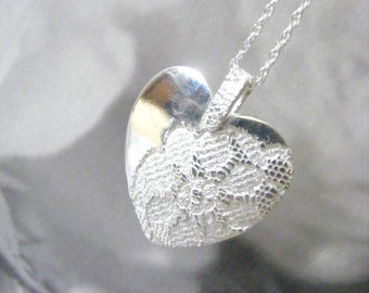 Fine Silver Lace Heart Necklace