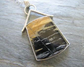 Necklace of Natural Picasso Marble in Sterling Silver