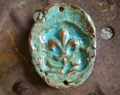 Rich Rustic Large Turquoise Chunky Cowgirl Fleur Jewelry Pendant