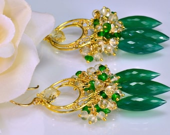 Green Onyx Gold Chandelier Earrings Green Onyx Green Scapolite Chrome Diopside Wire Wrapped Earrings