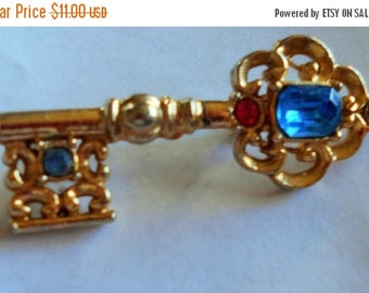 SALE Vintage Key Brooch, Blue, orange stones Pin, UNIQUE