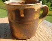 Yellow ash mug, shino mug, wood-fired mug, split-fire pottery, coffee mug, tea mug, pottery, ceramic,