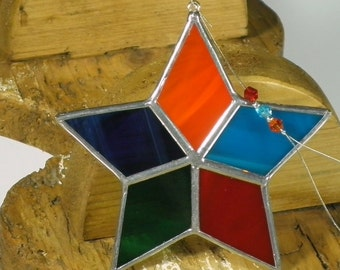 Rainbow Star Stained glass suncatcher, Christmas tree ornament and window decoration