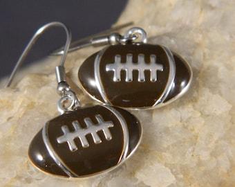 Brown Enameled Football Earrings