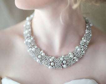 Bridal Statement Necklace, Wedding Necklace, Pearl Crystal Necklace