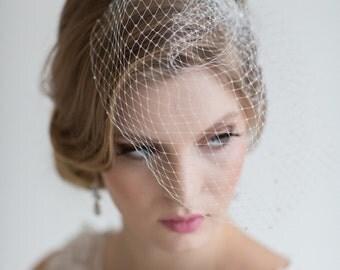 Birdcage Veil, 9 Inch Birdcage Veil, Wedding Veil, Bridal Birdcage Veil, Wedding Birdcage Veil, Crystal Comb Veil