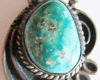 ANTIQUE Silver & Turquoise PENDANT by Johnson Platero