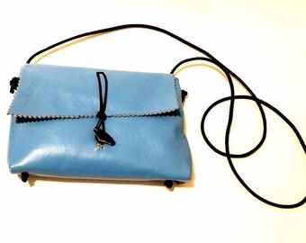 Sky Blue Mama Hippo Lambskin Cross Body Shoulder Bag & Clutch