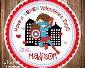 Valentine Gift Tags, PRINTABLE Valentine's Day Stickers, Girl Super hero Gift Tags, Girl Captain America OR Super Woman