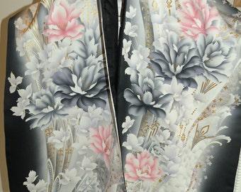 Silk Kimono Scarf/Shawl/Wrap..Long Island Bridal Wedding Gift..Cherry Blossoms Peony..Florals..Black/Lavendar/Pink/Ivory..Bride Clutch..Prom