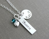 Sterling Silver Name and Date Necklace - Circle and Rectangle Charm - Swarovski Crystal Birthstone- Personalized - Heart - New Mommy Jewelry