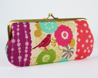 Eyeglass frame purse - Floral stripes in pink - Long purse / Eyeglass fabric case / Cell phone holder / Echino / Birds and flowers / purple