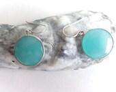 Blue Chalcedony Earrings. Sterling Silver 22 mm Gemstones