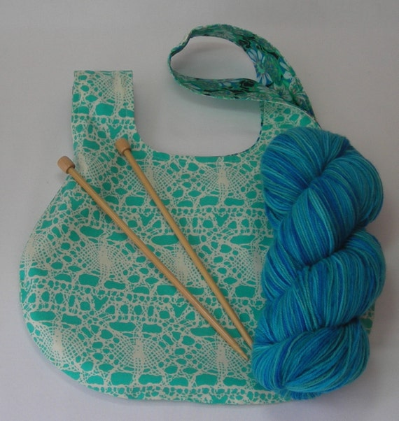 Knot Bag Knitting Pattern : Knitting Project Bag - Japanese Knot bag - Crochet Amigurumi sock WIP - flora...