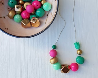 mati necklace - vintage remixed lucite - green pink gold necklace -