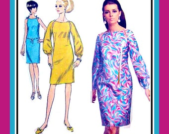Vintage 1967- PEEK-A-BOO Dress-Designer Sewing Pattern-Two Styles-Unique Cut-Away at Sleeves-Raglan Sleeves- Button Trim-Uncut-Size 14-Rare